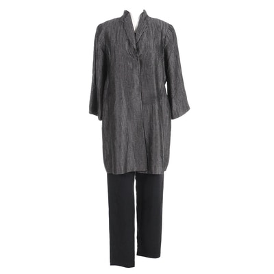 Eileen Fisher Silk Jacket with Knit Sleeveless Top and Pants