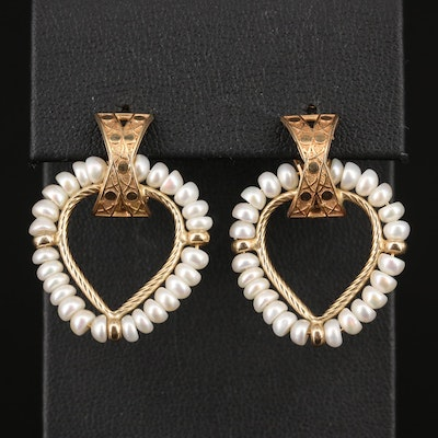 14K Pearl Beaded Hoop Earrings