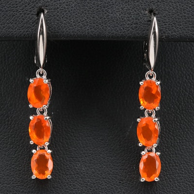 Sterling Silver Fire Opal Dangle Earrings