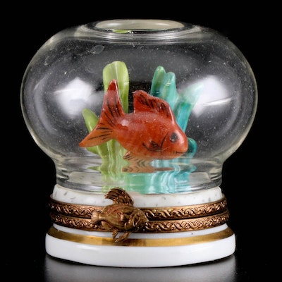 Parry Vielle Hand-Painted Glass and Porcelain Fish Bowl Limoges Box