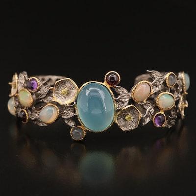 Sterling Silver Gemstone Floral Cuff