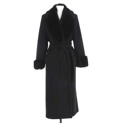 Women's Sheared Rabbit Fur-Trimmed Belted Open-Front Overcoat, Late 20th C.