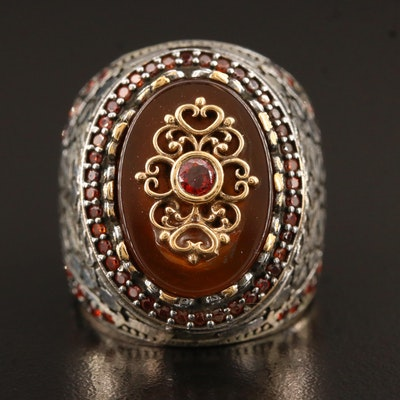 Sterling Silver Carnelian and Cubic Zirconia Ring