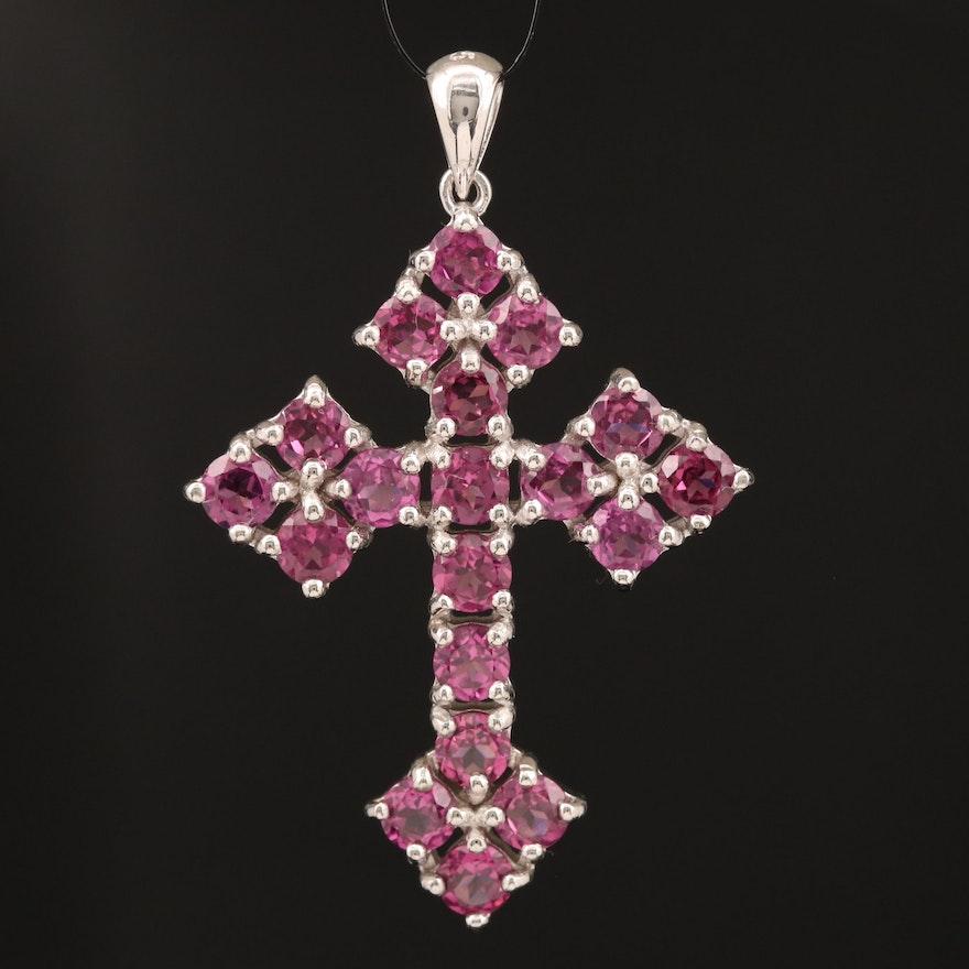 Sterling Silver Garnet Apostles Cross Pendant