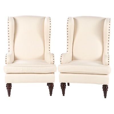 "Pair of Sam Moore ""Spencer"" Upholstered and Brass-Tacked Wingback Armchairs"