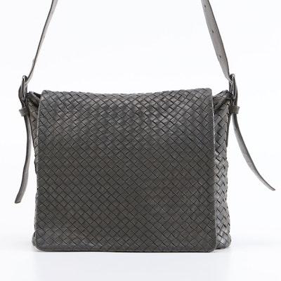 Bottega Veneta Gray Intrecciato Leather Crossbody Bag