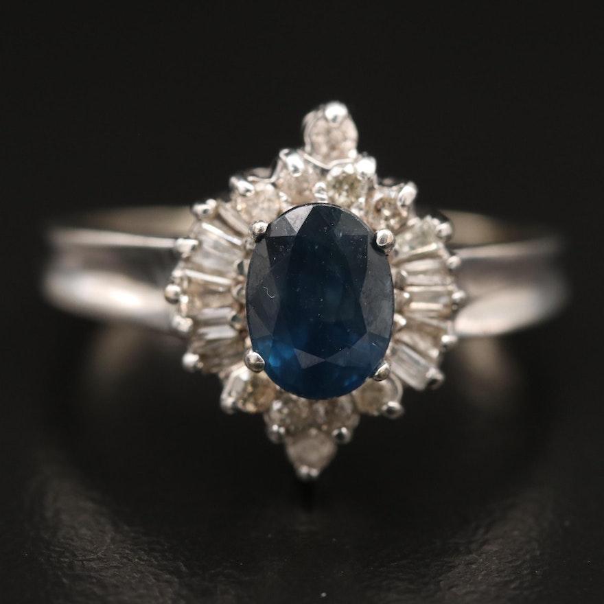 14K 1.22 CT Sapphire and Diamond Ring