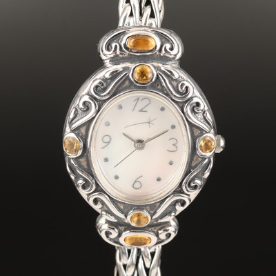 Sterling Silver and Citrine Quartz Wristwatch with Mother of Pearl Dial