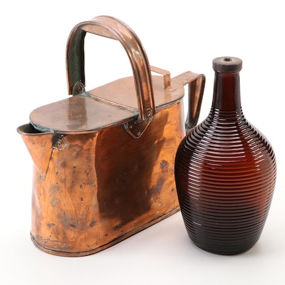 Handcrafted Copper Kettle with Owens-Illinois Amber Glass Bottle