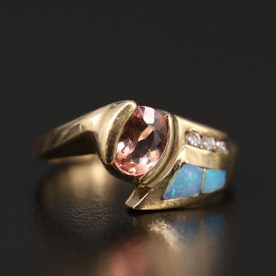 14K Topaz, Diamond Opal Inlay Ring