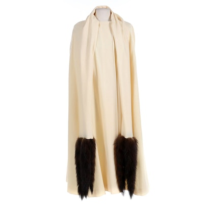 C'est Simone Ivory Wool Cape with Mink Tail-Trimmed Attached Scarf, Vintage