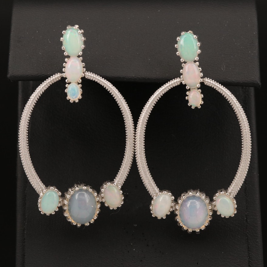 Sterling Silver Opal Door Knocker Earrings