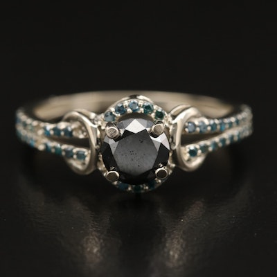 14K 1.07 CTW Diamond Ring with Split Shoulders