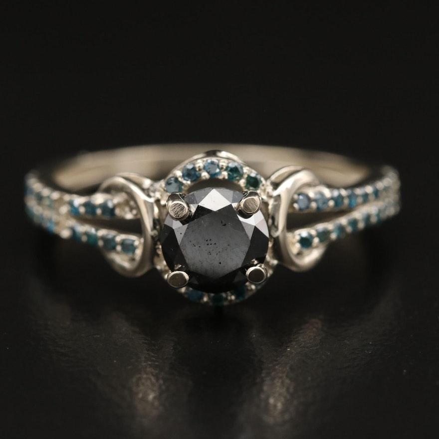 14K 1.07 CTW Diamond Ring with Split Shoulders