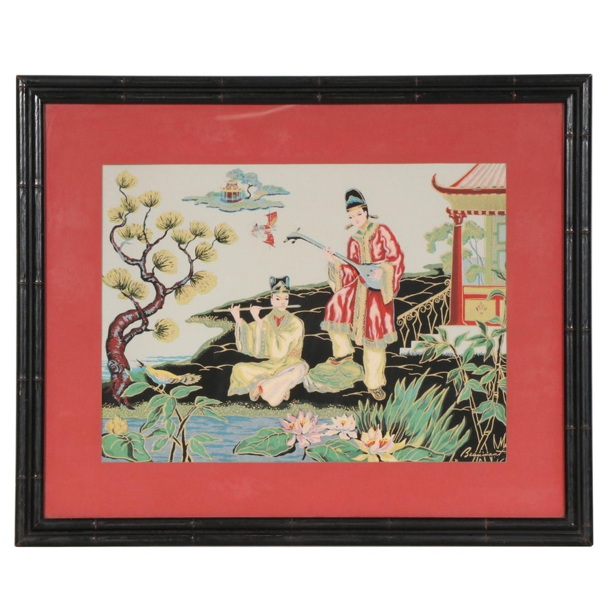 Serigraph of Chinese Musicians by Lake, Mid to Late 20th Century