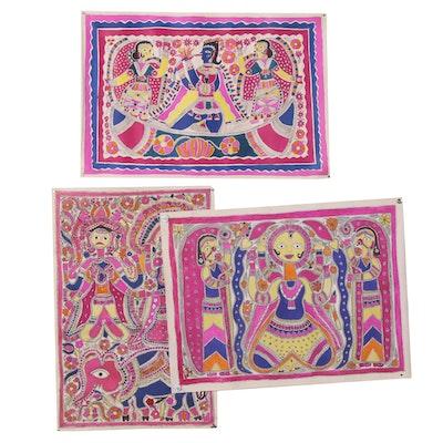 Bharni Folk Style Watercolor Madhubani Paintings, Mithila