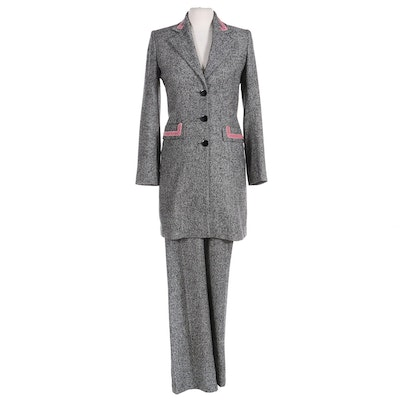 Vertigo Paris Velvet-Accented Wool Blend Two-Piece Pantsuit, Made in France