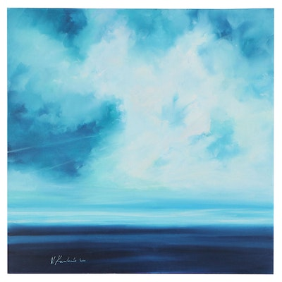 "Victor Kovalenko Seascape Oil Painting ""Dance of the Sky with Water,"" 2020"