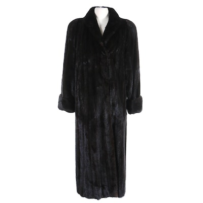 Nina Ricci of Paris Dark Mink Fur Full-Length Coat with Turned Back Cuffs