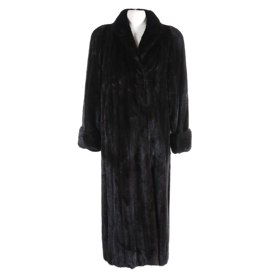 Nina Ricci of Paris Dark Mink Fur Full-Length Coat with Turned Back Cuffs