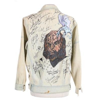 Star Trek Voyager Cast Autographed Distressed Denim Jacket, Late 1990s