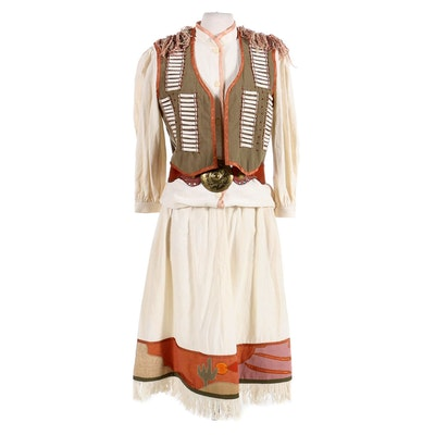 Women's Southwest Style Embellished Cotton Three-Piece Outfit with Leather Belt