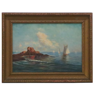 James T. Breen Oil Painting of Sailboats, Early 20th Century