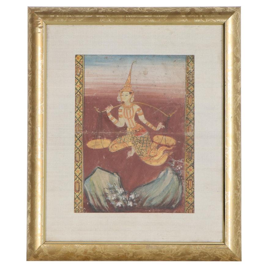 Thai Gouache Illustrations from Legend of Phra Malai Manuscript