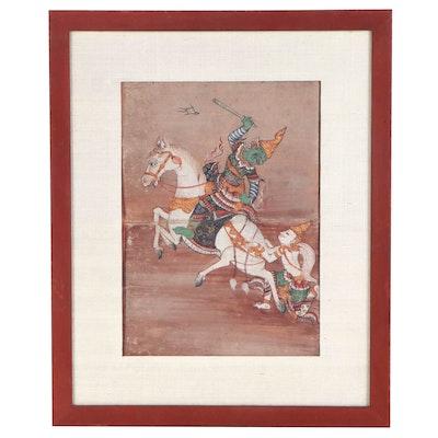Gouache Illustration from the Thai Ramakien Epic, 19th Century
