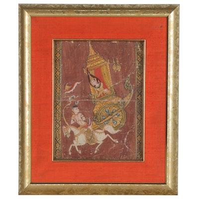 Thai Gouache Illustrations from the Mahānipāta Jātaka Featuring Prince Nimi