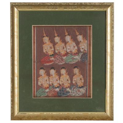 Thai Gouache Illustrations of Devas from Legend of Phra Malai Manuscript