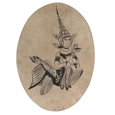 "Acrylic Painting on Wood of the Thai ""Kinnari,"" Late 20th Century"