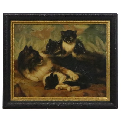 Oil Painting of Mother Cat and Her Kittens, Early 20th Century