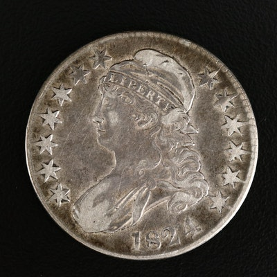1824 over 4 Capped Bust Silver Half Dollar
