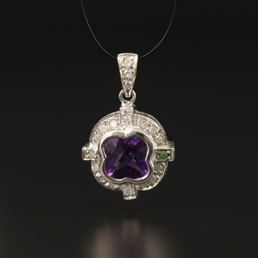 14K Amethyst and Diamond Quatrefoil Pendant