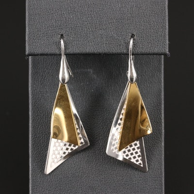 Frederic Duclos Sterling Silver Triangular Dangle Earrings