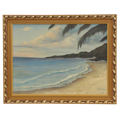 Cheryl Metzger Coastal Landscape Oil Painting, 1990