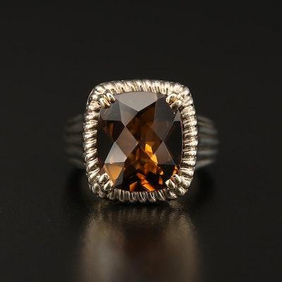 Charles Krypell Sterling Silver Smoky Quartz Ring with 14K Accents