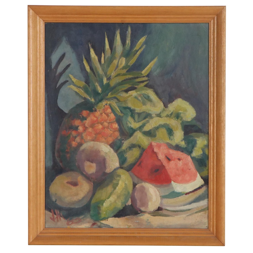 Still Life with Fruit Oil Painting, Mid 20th Century