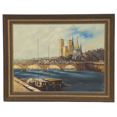Parisian Cityscape with Pont de la Tournelle Oil Painting, Mid 20th Century