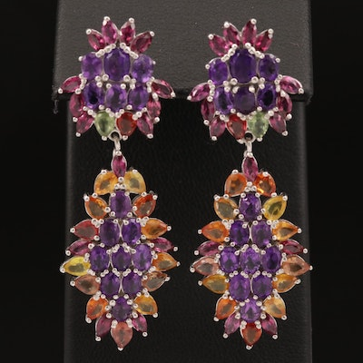 Sterling Amethyst, Sapphire and Garnet Drop Earrings