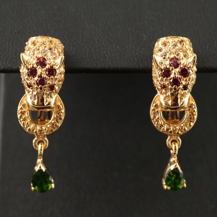 Sterling Silver Diopside, Garnet and Sapphire Jaguar Motif Earrings