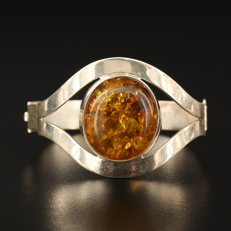 Sterling Silver Amber Hinged Bangle
