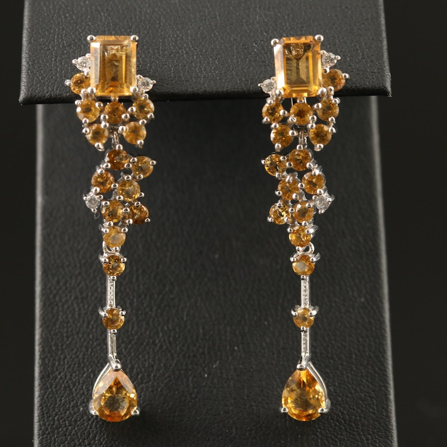 Sterling Silver Citrine and Cubic Zirconia Dangle Earrings