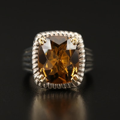 Charles Krypell Sterling Silver Citrine Ring with 14K Accents