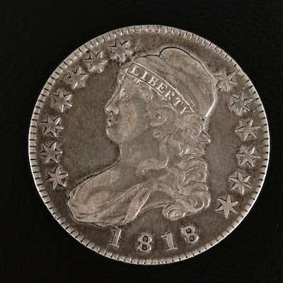 1818 over 17 Capped Bust Silver Half Dollar