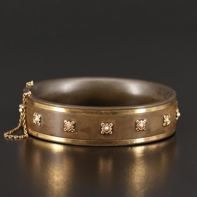 Victorian 14K and Gutta Percha Hinged Bracelet with Pearl Accents