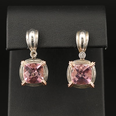 Charles Krypell Sterling Silver Topaz and Diamond Drop Earrings with 14K Accents