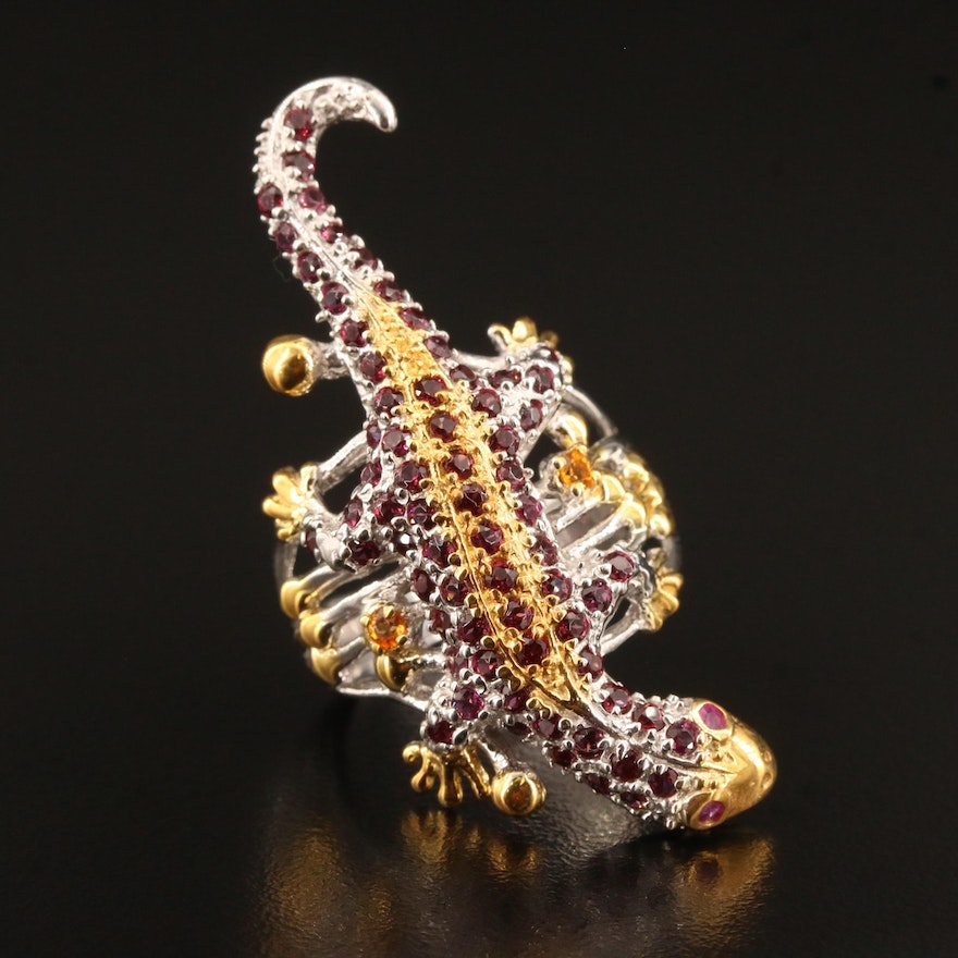 Sterling Silver Garnet and Sapphire Gecko Ring
