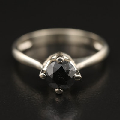 14K 0.90 CT Black Diamond Solitaire Ring